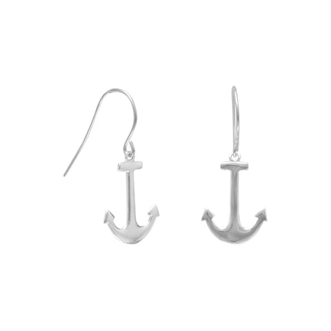 Rhodium Plated Anchor Earrings