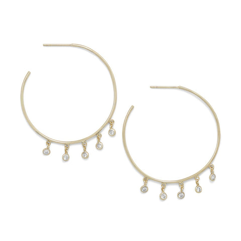 14 Karat Gold Plated Dangling CZ Hoops