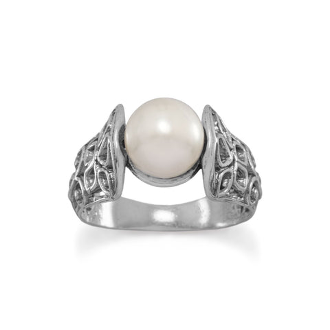 Oxidized Ornate Cut Out Band Ring with Cultured Freshwater Pearl