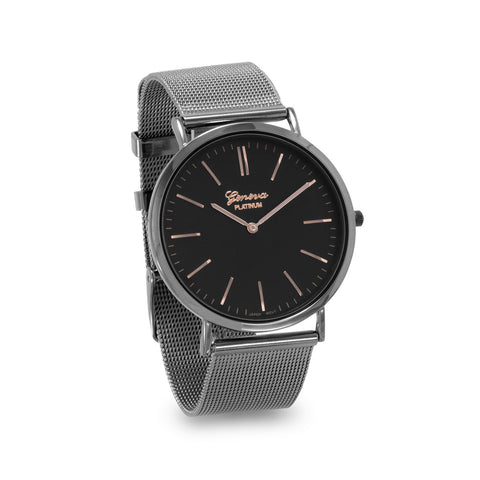 Gunmetal Tone Mesh Fashion Watch