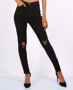 Black Ripped Skinny Jeans- High Waisted - Missworldlondon