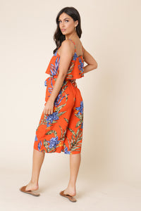 Orange Tropical Print Culotte Jumpsuit - Missworldlondon