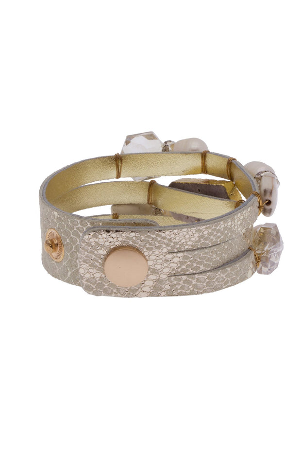Rodinia Pearl Leather and Crystal Bracelet