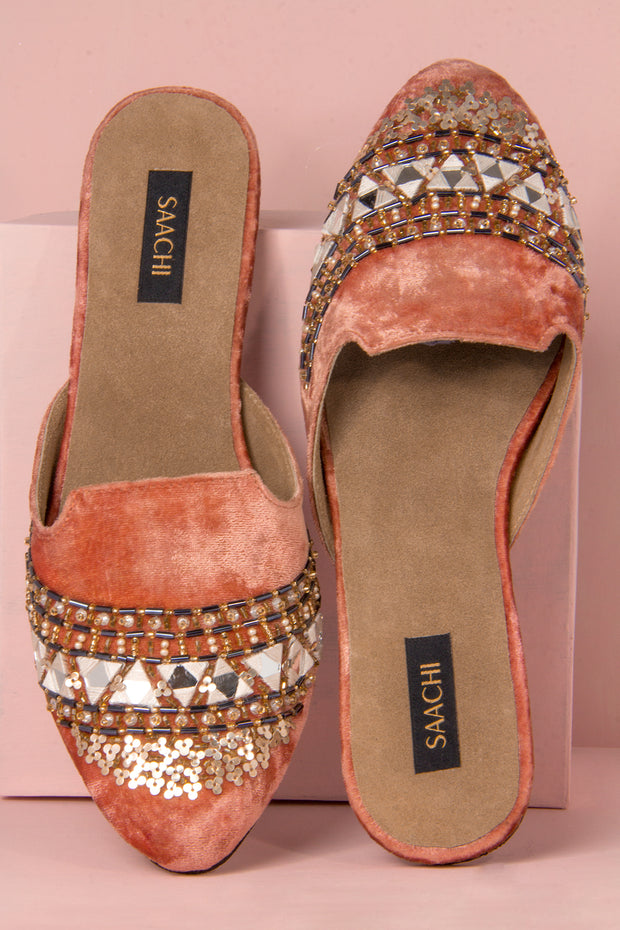 beaded embroidered mule