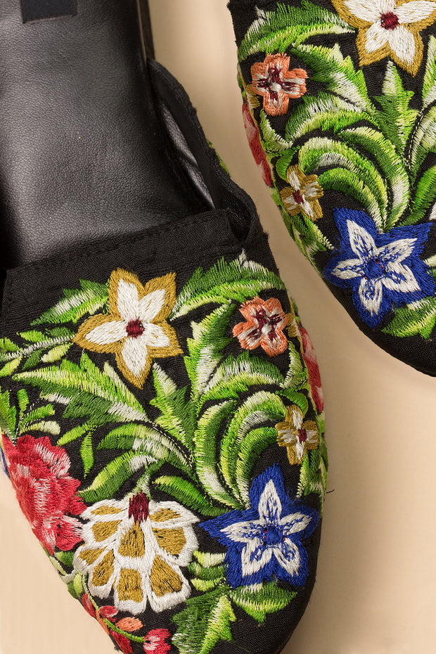 black mules with embroidery