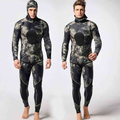 MYLEDI 3MM Men's 2 Piece Spearfishing Wetsuit Hooded Thermal Camouflage Diving Suit