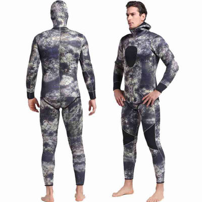 Sbart Mens 3mm 2 Piece Reef Spearfishing Suit Hooded Camo Wetsuit