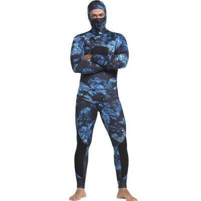 MYLEDI 2 Piece 5mm Men's Spearfishing Deep Diving Camo Wetsuit with Hood