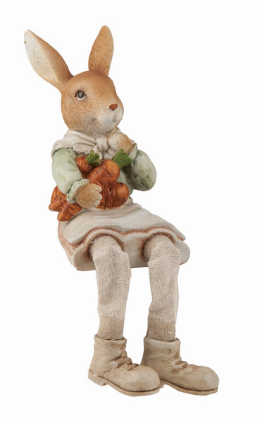 Brown Easter Traditional Bunny Farmer Shelf Sitter - Simple Pleasures ~ Bountiful Treasures