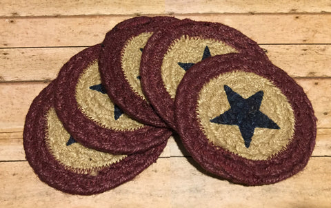 Braided Coaster Navy Star and Burgundy - Simple Pleasures ~ Bountiful Treasures