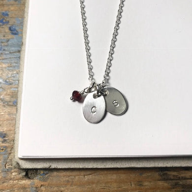 Initial Necklace, Small Oval - from $28