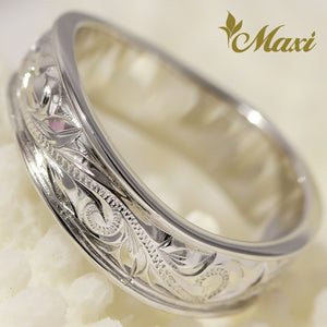 [14K White Gold] Wavy Shaped Ring Large-Hand Engraved Traditional Hawaiian Design**TAKE ONE MONTH** (R0486)