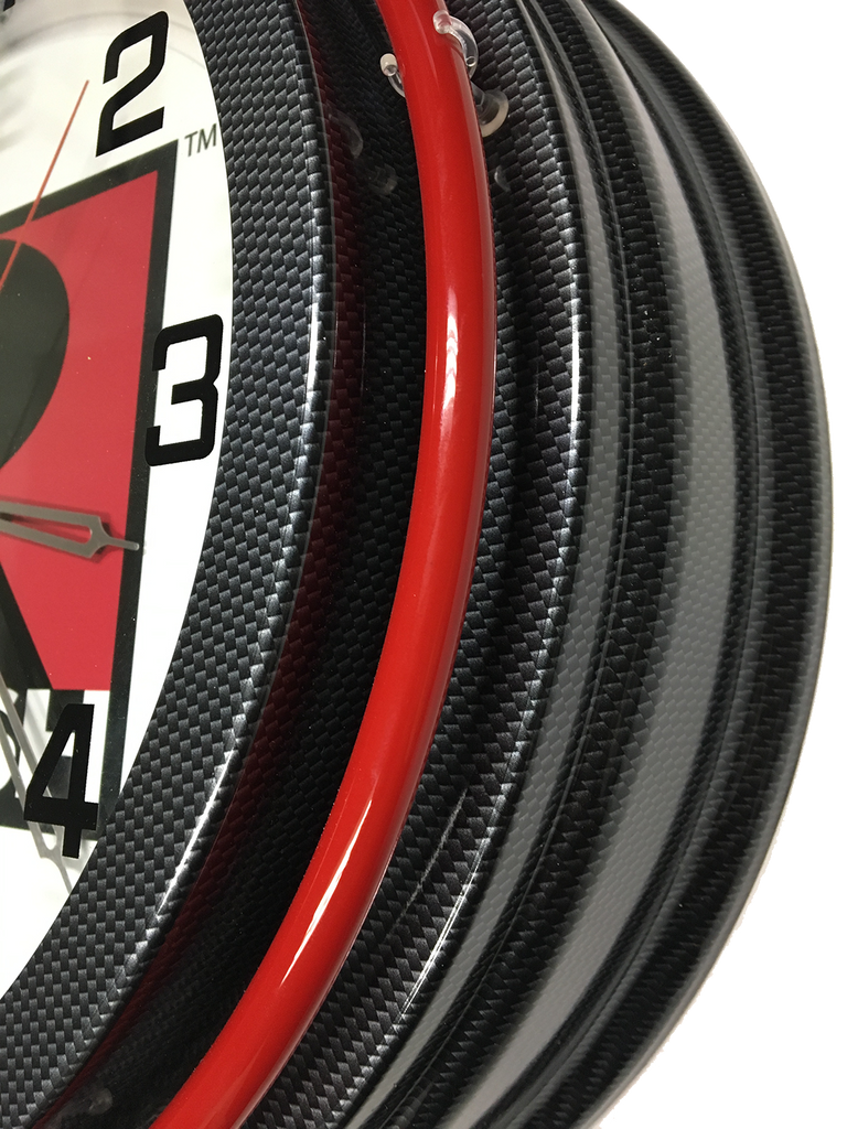Roush Retro Style Double Neon Clock - Carbon Fiber