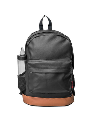 Leatherette Laptop Backpack Black and Tan