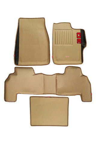 Diamond 3D Car Floor Mat Beige And Black (Set of 4)