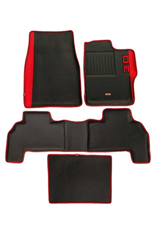 Diamond 3D Car Floor Mat Black And Red (Set of 4)
