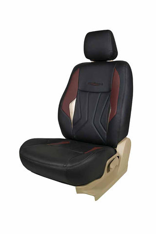 Glory Robust Art Leather Car Seat Cover Black and Maroon
