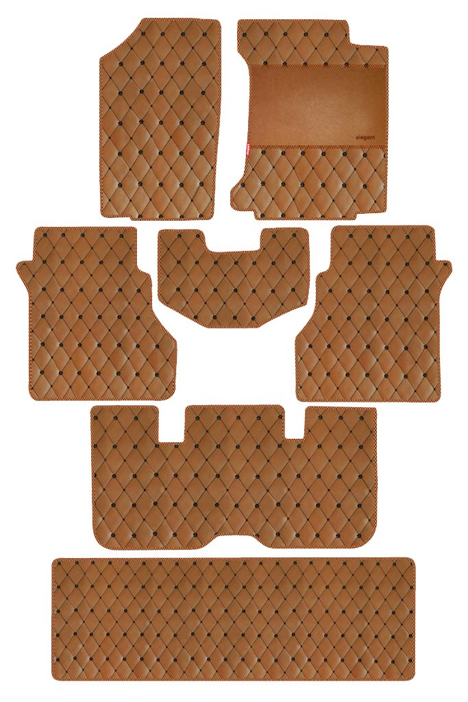 Luxury Leatherette Car Floor Mat Tan (Set of 7)