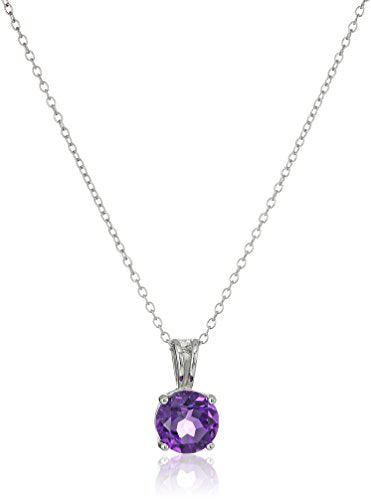 Sterling Silver Genuine African Amethyst 8mm Round February Birthstone Pendant Necklace, 18