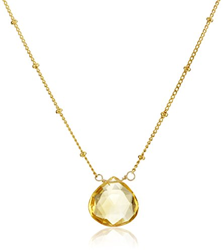 Gold Citrine Drop Pendant Necklace (18-Inch)