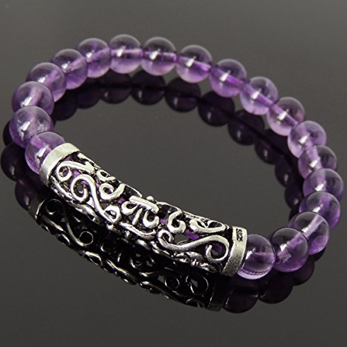 Bracelet Handmade with 8mm AAA Amethyst Gemstone Beads and Genuine 925 Stamp Sterling Silver Lucky Charm