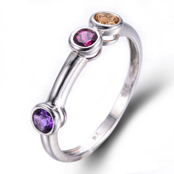 Natural Amethyst, Rhodolite & Citrine Sterling Silver Ring