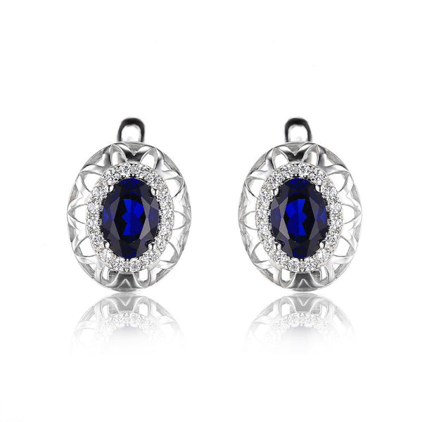 Sapphire Unique Design Clip On Earrings 925 Sterling Silver