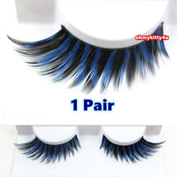 Blue Glitter Black Eyelashes (Halloween/ Stage effect) - Ohmykitty Online Store