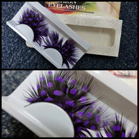 Purple Dots Feather Eyelashes (Halloween / Stage effect)