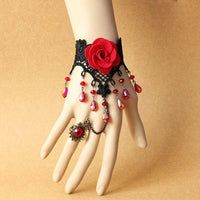Red Vintage style Lace flower Hand Harness / bracelet