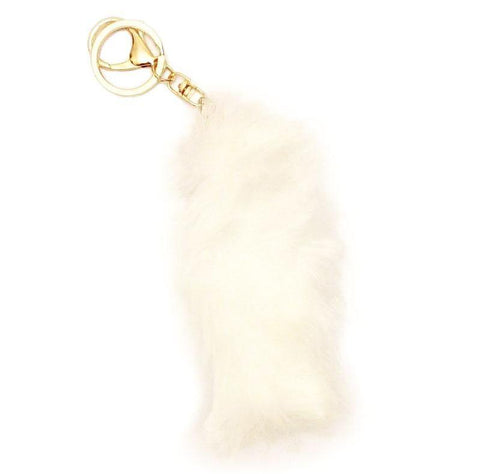 Soft Faux Fur Tail Keychain - White