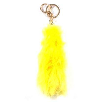 Soft Faux Fur Tail Keychain - Yellow
