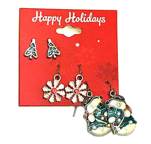 3 Piece Snow and Tree Earrings