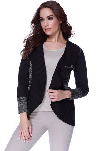 Cut Work Hooded Zip-Up Cardigan