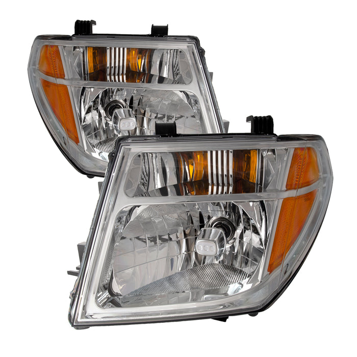 PERDE Headlights Halogen Chrome Set w/Performance Lens Pair Fits 2005-2008 Nissan Frontier/2005-2007 Pathfinder