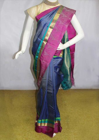 Blue With Pink Kanchipuram Silk Saree - FN80404