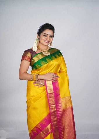 Yellow With Pink Kanchipuram Silk Saree - FH951