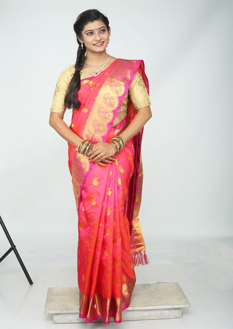 Orange With Pink Kanchipuram Silk Saree - FH1855
