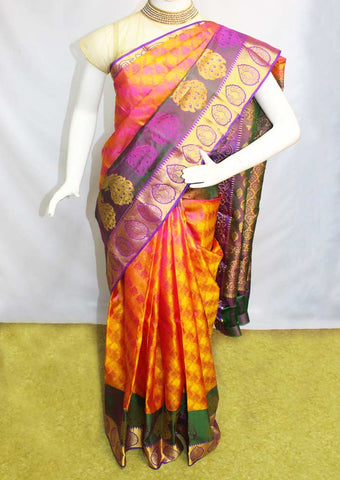 Orange with Pink Shade Kanchipuram Silk Saree-FH1887