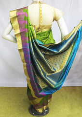 Green with Ramar Blue Kanchipuram Silk Saree-EO312