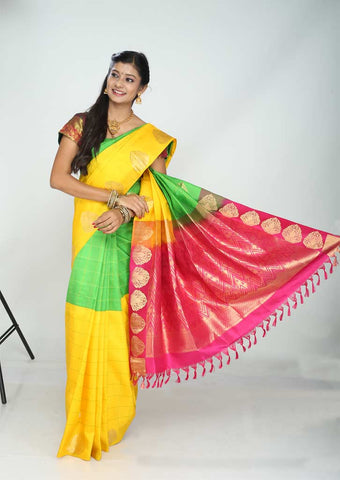 Yellow With Green Kanchipuram Silk Saree - FG5756