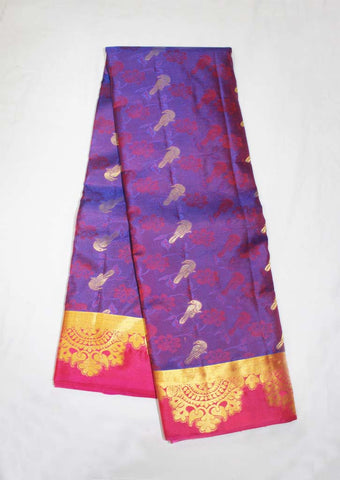 Violet With Red Kanchipuram Silk Saree- FJ3333