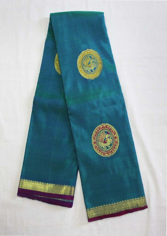 Peacock Blue With Pink Kanchipuram Silk Saree- EV1908