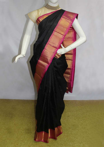 Black With Pink Kanchipuram Silk Saree - FN80568