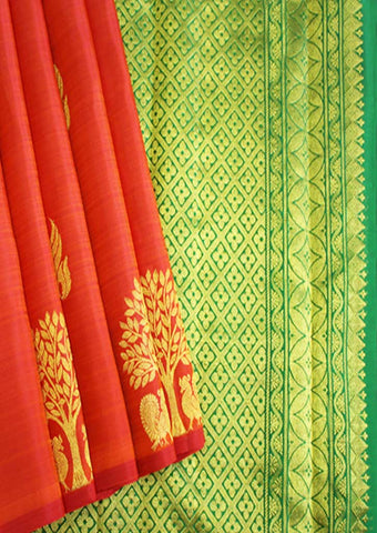 Orange With Green Kanchipuram Silk Saree-FI10744