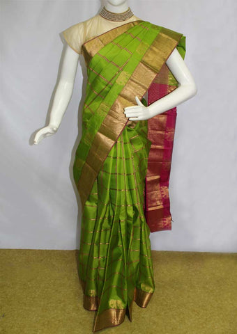 Parrot Green with Pink Kanchipuram Silk Saree-EU501
