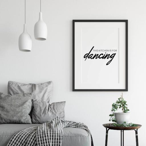 This kitchen is for dancing - dark version - black and white minimal quote print - typography poster for minimal kitchen interior decor - A Book of Words