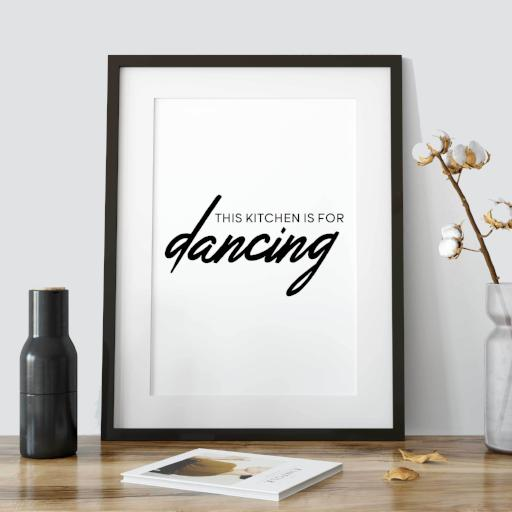This Kitchen is for dancing - dark version - typography poster for kitchen - fun inspiring quote print for gallery wall - A Book of Words