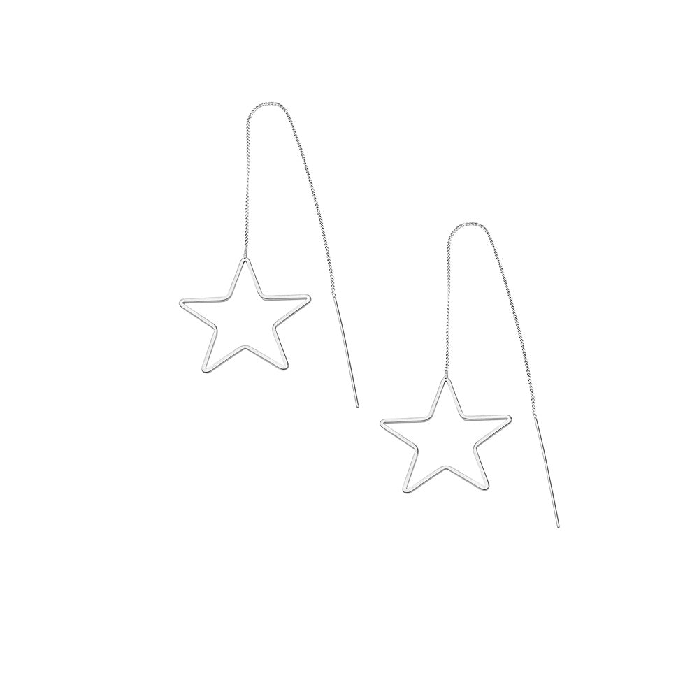 JOLIE AND DEEN THREADED STAR EARRINGS - SILVER