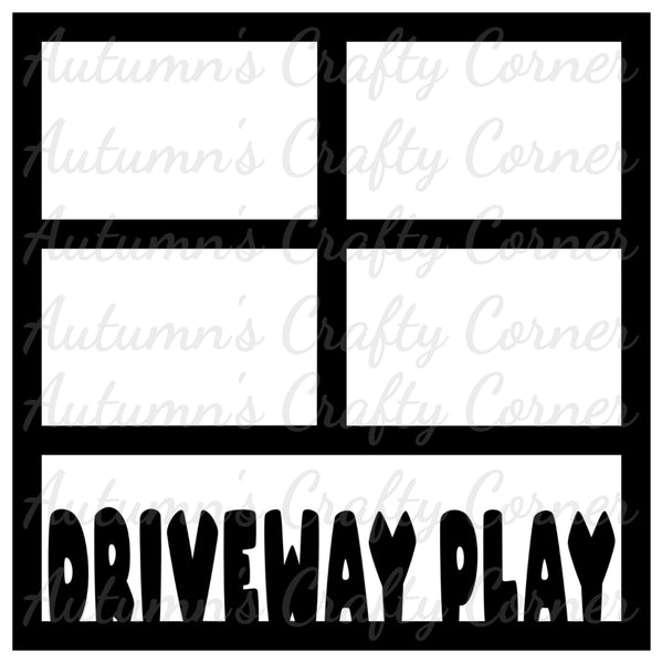 Driveway Fun - 4 Frames - Scrapbook Page Overlay Die Cut - Choose a Color